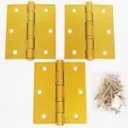 Dobradiça Comum para Porta com Rolamento  3 1/2'' x 3'' Dourado Acetinado 3 pç Grande até 35kg