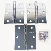 Dobradiça Comum para Porta com Rolamento  3 1/2'' x 3'' Polido Brilhante 3 pç Grande até 35kg