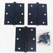 Dobradiça Comum para Porta com Rolamento  3 1/2'' x 3'' Preto Fosco 3 pç Grande até 35kg