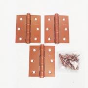 Dobradiça Comum para Porta com Rolamento  3'' x 2 1/2'' Cobre Acetinado Red Gold 3 pç Pequeno até 25kg