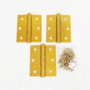 Dobradiça Comum para Porta com Rolamento  3'' x 2 1/2'' Dourado Acetinado 3 pç Pequeno até 25kg