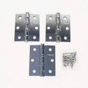 Dobradiça Comum para Porta com Rolamento  3'' x 2 1/2'' Polido Brilhante 3 pç Pequeno até 25kg