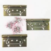 Dobradiça De Sobrepor Porta Madeira Encaixe Rápido 4'' x 3'' Aço Antique Ouro Velho 3pç