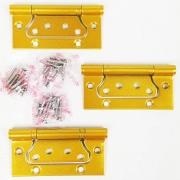 Dobradiça De Sobrepor Porta Madeira Encaixe Rápido 4'' x 3'' Aço Dourado Acetinado 3pç