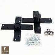 Dobradiça Pivotante para portas de até 350 kg com Rolamento Pino Pivotante em Aço pintura Preto Fosco