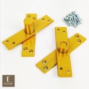 Dobradiça Pivotante para portas de até 350 kg Pino Pivotante em Aço pintura Dourado Acetinado