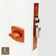 Fechadura AROUCA Para Banheiro WC Trinco Rolete Pivotante 4150/45 COM REGULAGEM INOX COBRE ACETINADO com Roseta OBILONGO
