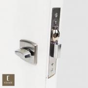 Fechadura AROUCA Para Banheiro WC Trinco Rolete Pivotante 4150/45 COM REGULAGEM INOX ESCOVADO FOSCO com Roseta OBILONGO