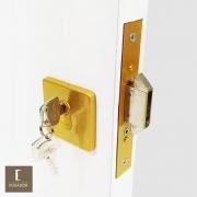 Fechadura AROUCA Trinco Asa de Avião Bico Duplo para Porta de Correr 1006/098 Dourado Acetinado com Roseta Quadrada