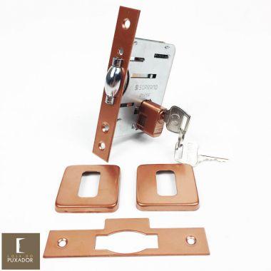 Fechadura Soprano Trinco Rolete Pivotante Pratice Cobre Acetinado com Roseta Quadrada 75 mm ( PORTA GROSSA ATÉ 6,5 CM )