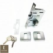 Fechadura Soprano Trinco Rolete Pivotante Pratice Escovado Fosco com Roseta Quadrada 65 mm ( PORTA GROSSA ATÉ 5,5 CM )