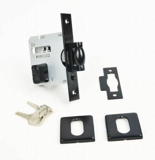 Fechadura STAM Trinco Rolete Pivotante com Roseta Quadrada 83 mm ( PORTA GROSSA ATÉ 7 CM ) PRETA