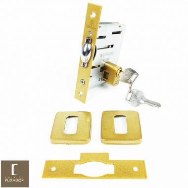 Fechadura Soprano Trinco Rolete Pivotante Pratice Dourado Metálico Acetinado com Roseta Quadrada 75 mm ( PORTA GROSSA ATÉ 6,5 CM )