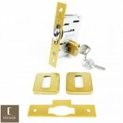 Fechadura Soprano Trinco Rolete Pivotante Pratice Dourado Metálico Acetinado com Roseta Quadrada 90 mm ( PORTA GROSSA ATÉ 8,0 CM )