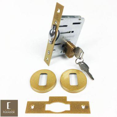 Fechadura Soprano Trinco Rolete Pivotante Pratice Dourado Metálico Acetinado com Roseta Redonda 90 mm ( PORTA GROSSA ATÉ 8,0 CM )