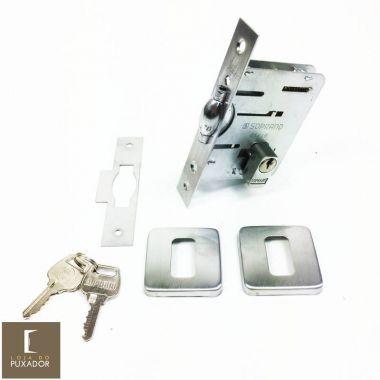 Fechadura Soprano Trinco Rolete Pivotante Pratice Escovado Fosco com Roseta Quadrada 75 mm ( PORTA GROSSA ATÉ 6,5 CM )