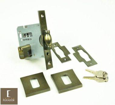 Fechadura STAM Trinco Rolete Pivotante com Roseta Quadrada 83 mm ( PORTA GROSSA ATÉ 7 CM ) OURO VELHO ANTIQUE