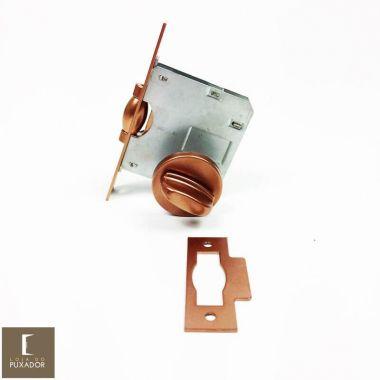 Fechadura STAM Trinco Rolete Pivotante para banheiro WC REDONDA COBRE ACETINADO