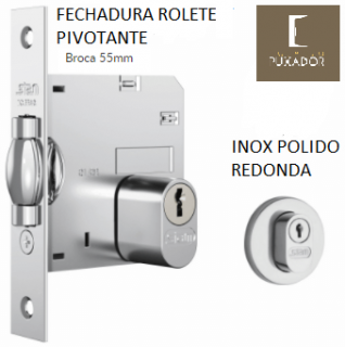 Fechadura STAM Trinco Rolete Pivotante REDONDA CROMADA 70MM