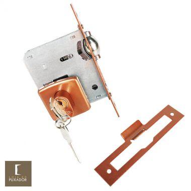 Fechadura Trinco Rolete Pivotante Arouca Cobre Acetinado com Roseta Quadrada com Tambor 60 mm