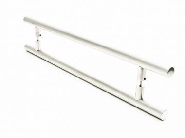 KIT Puxador Para Portas Duplo AÇO INOX ESCOVADO (GRAND SOFT). 70 CM + fechadura soprano 53 escovado + batedor porta escovado
