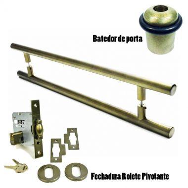 KIT Puxador Porta (GRAND SOFT) Aço Inox Antique Ouro Velho + fechadura rolete pivotante Antique Ouro Velho + Batedor/amortecedor porta Antique Ouro Velho