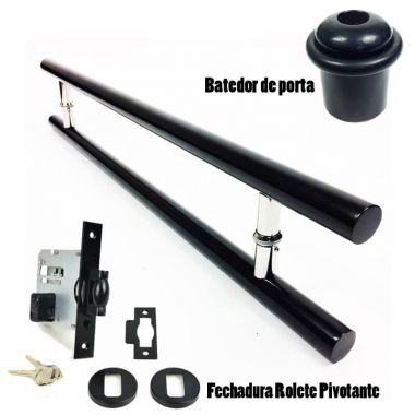 KIT Puxador Porta (GRAND SOFT) Aço Inox PRETO + fechadura rolete pivotante PRETO + Batedor/amortecedor porta PRETO