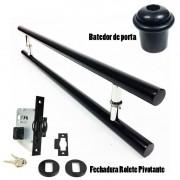 KIT Puxador Porta (GRAND SOFT) Aço Inox PRETO FOSCO + fechadura rolete pivotante PRETO FOSCO + Batedor/amortecedor porta PRETO FOSCO