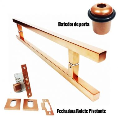 KIT PUXADOR PORTA PIVOTANTE ( ARISTOCRATA ) AÇO INOX COBRE + FECHADURA ROLETE PIVOTANTE COBRE +BATEDOR / AMORTECEDOR PORTA COBRE