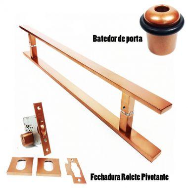 KIT PUXADOR PORTA PIVOTANTE ( CLEAN ) AÇO INOX COBRE + FECHADURA ROLETE PIVOTANTE COBRE +BATEDOR / AMORTECEDOR PORTA COBRE