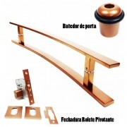 KIT PUXADOR PORTA PIVOTANTE ( NOVITÁ ) AÇO INOX COBRE + FECHADURA ROLETE PIVOTANTE COBRE +BATEDOR / AMORTECEDOR PORTA COBRE