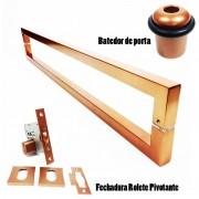 KIT PUXADOR PORTA PIVOTANTE ( SLIN ) AÇO INOX COBRE + FECHADURA ROLETE PIVOTANTE COBRE +BATEDOR / AMORTECEDOR PORTA COBRE
