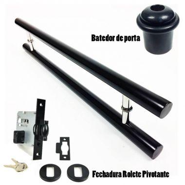 KIT Puxador Porta (PLENO) Aço Inox PRETO + fechadura rolete pivotante PRETO + Batedor/amortecedor porta PRETO