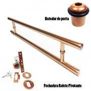 KIT Puxador Porta (SOFT) Aço Inox cobre acetinado + fechadura rolete pivotante cobre acetinado +Batedor/amortecedor porta cobre acetinado