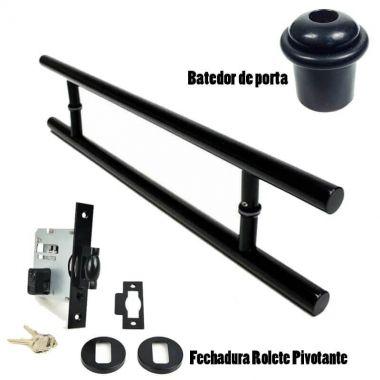 KIT Puxador Porta (SOFT) Aço Inox PRETO EPÓXI + fechadura rolete pivotante PRETO EPÓXI +Batedor/amortecedor porta PRETO EPÓXI