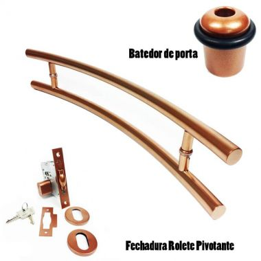 KIT Puxador Porta (SOLARES) Aço Inox cobre acetinado + fechadura rolete pivotante cobre acetinado + Batedor/amortecedor porta cobre acetinado
