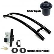 KIT Puxador Porta (SOLARES) Aço Inox PRETO + fechadura rolete pivotante PRETO + Batedor/amortecedor porta PRETO