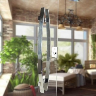 Puxador Aço Inox Polido/Cromado Para Porta Vidro Temperado Blindex (ALBA)