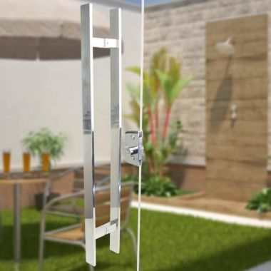 Puxador Aço Inox Polido/Cromado Para Porta Vidro Temperado Blindex (CLEAN)