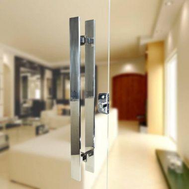 Puxador Aço Inox Polido/Cromado Para Porta Vidro Temperado Blindex (GRAND CLEAN EXTRA GRANDE)
