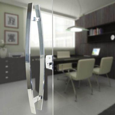Puxador Aço Inox Polido/Cromado Para Porta Vidro Temperado Blindex curvo (LUGUI)
