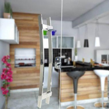 Puxador Aço Inox Polido/Cromado Para Porta Vidro Temperado Blindex (PAOLA)