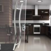 Puxador Aço Inox Polido/Cromado Para Porta Vidro Temperado Blindex (SAFIRA) curvo em s