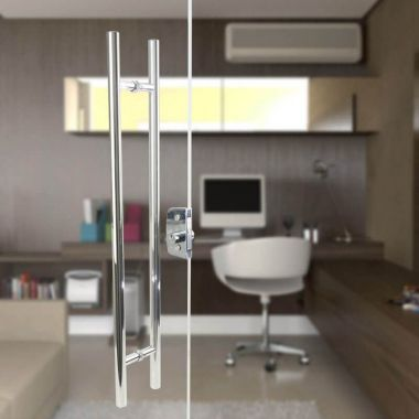 Puxador Aço Inox Polido/Cromado Para Porta Vidro Temperado Blindex (SOFT)