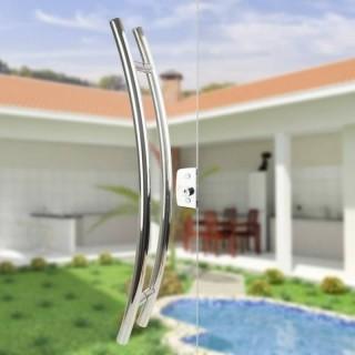 Puxador Aço Inox Polido/Cromado Para Porta Vidro Temperado Blindex (SOLARES)