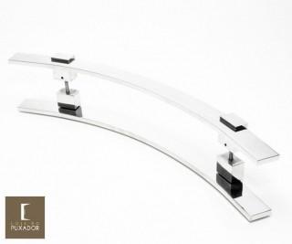 Puxador Para Portas Duplo 100% AÇO INOX 304  POLIDO (PAOLA).  puxador curvo formato em C barra chata 4 cm largura x 1 cm espessura pés especiais .