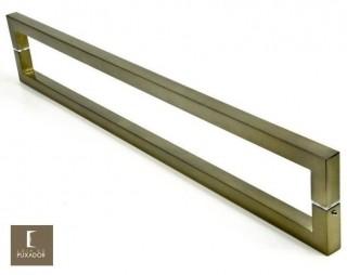 Puxador Para Portas Duplo 100% AÇO INOX OURO VELHO ANTIQUE (SLIN). Puxador tubular Quadrado reto 2,5 cm x 2,5 cm pé em trave nas pontas.