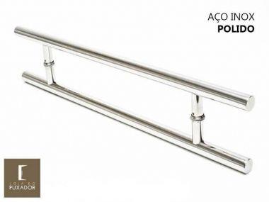 Puxador Para Portas Duplo Aço Inox Modelo Soft Polido