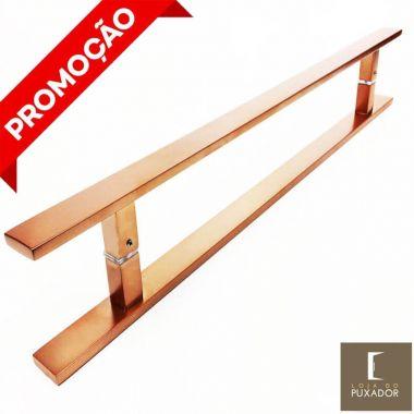 Puxador Para Portas Duplo AÇO INOX COBRE ACETINADO (CLEAN)