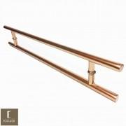 Puxador Para Portas Duplo em Aço Inox 304 Modelo Soft Cobre Acetinado Red Gold para portas: pivotantes/madeira/vidro temperado/porta alumínio e portões